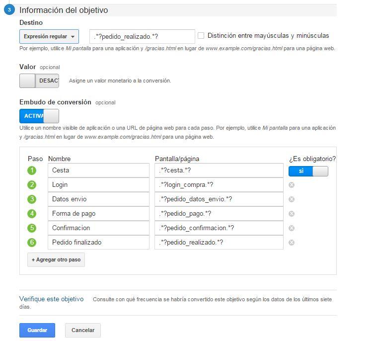 Seguimiento de objetivos en google analytics